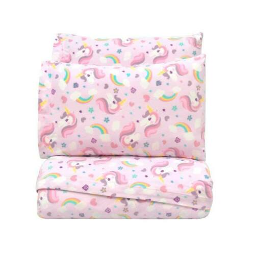 Unicorns and rainbows SHEETS SET Pink  Teens Bedding Twin size 3 PIECES