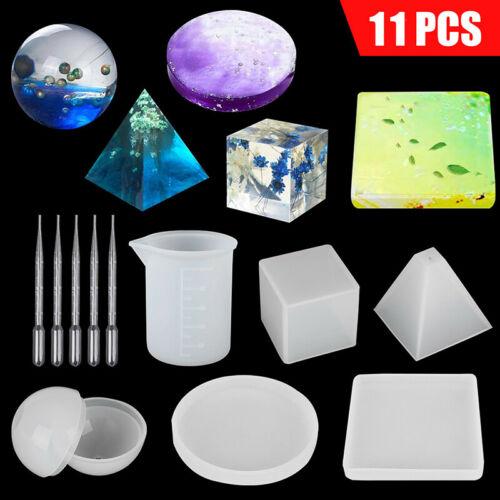 11pcs Resin Casting Molds Epoxy Silicone Art Set DIY Coaster Ashtray Making Mold