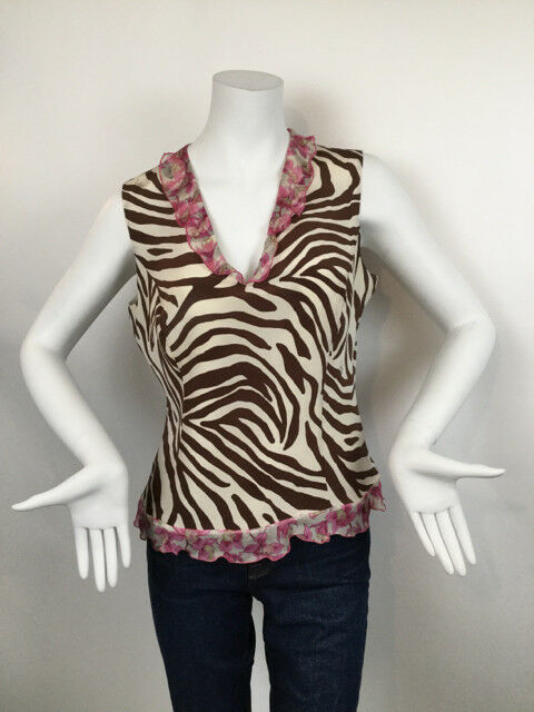 Valentino Roma Zebra Print Cream Print Silk  Dress Top - Size 10