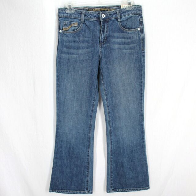 Arizona Flare Jeans Girls Sz 10 1/2 Plus Medium Wash Blue Stretch Denim New