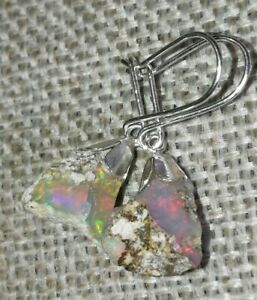 Natural-solid-rainbow-fire-opal-925-Sterling-silver-drop-dangle-earrings