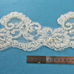 1-METRE-CREAM-IVORY-BEADED-LACE-BRIDAL-WEDDING-TRIM-TRIMMINGS-105mm-HL1059