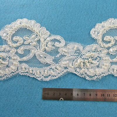 1 METRE CREAM / IVORY BEADED LACE BRIDAL WEDDING TRIM TRIMMINGS 105mm  HL1059
