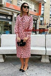 Zara-New-F-W-2020-Pleated-Polka-Dot-Midi-Dress-Size-M-10-12