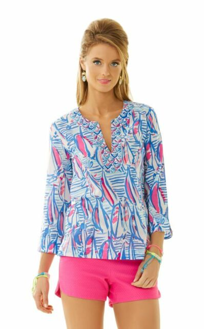 70911dc61a41e8 Lilly Pulitzer Size XS Amelia Island Tunic Top Resort White Red Right Return