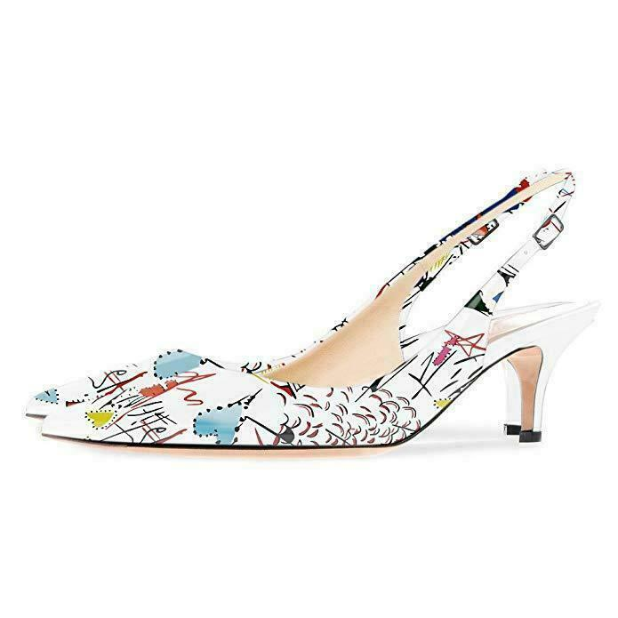 Womens Graffiti Stars Pattern Pointy Toe Slingback Strap  Buckle Pump Sandals Sz