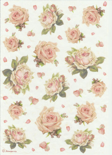 Scrapbooking Sheet Craft Texture with Roses Rice Paper for Decoupage