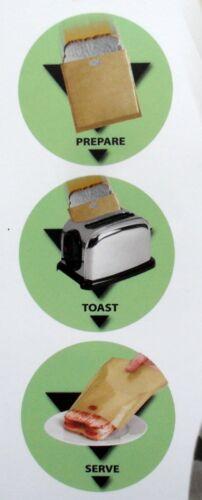 Grille-Pain Sac Réutilisable toastage Sacs Pack 2 Toasts Sandwichs en quelques minutes toastabag
