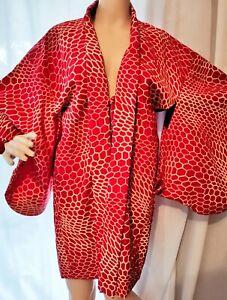 Japanese-Haori-Kimono-Red-amp-White-Snakeskin-Texture-Design-Pattern