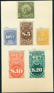 PERU-6-DIFF-ABNCo-XF-SUPERB-PLATE-PROOFS-ON-INDIA-PAPER-EX-GREEN-HV5296
