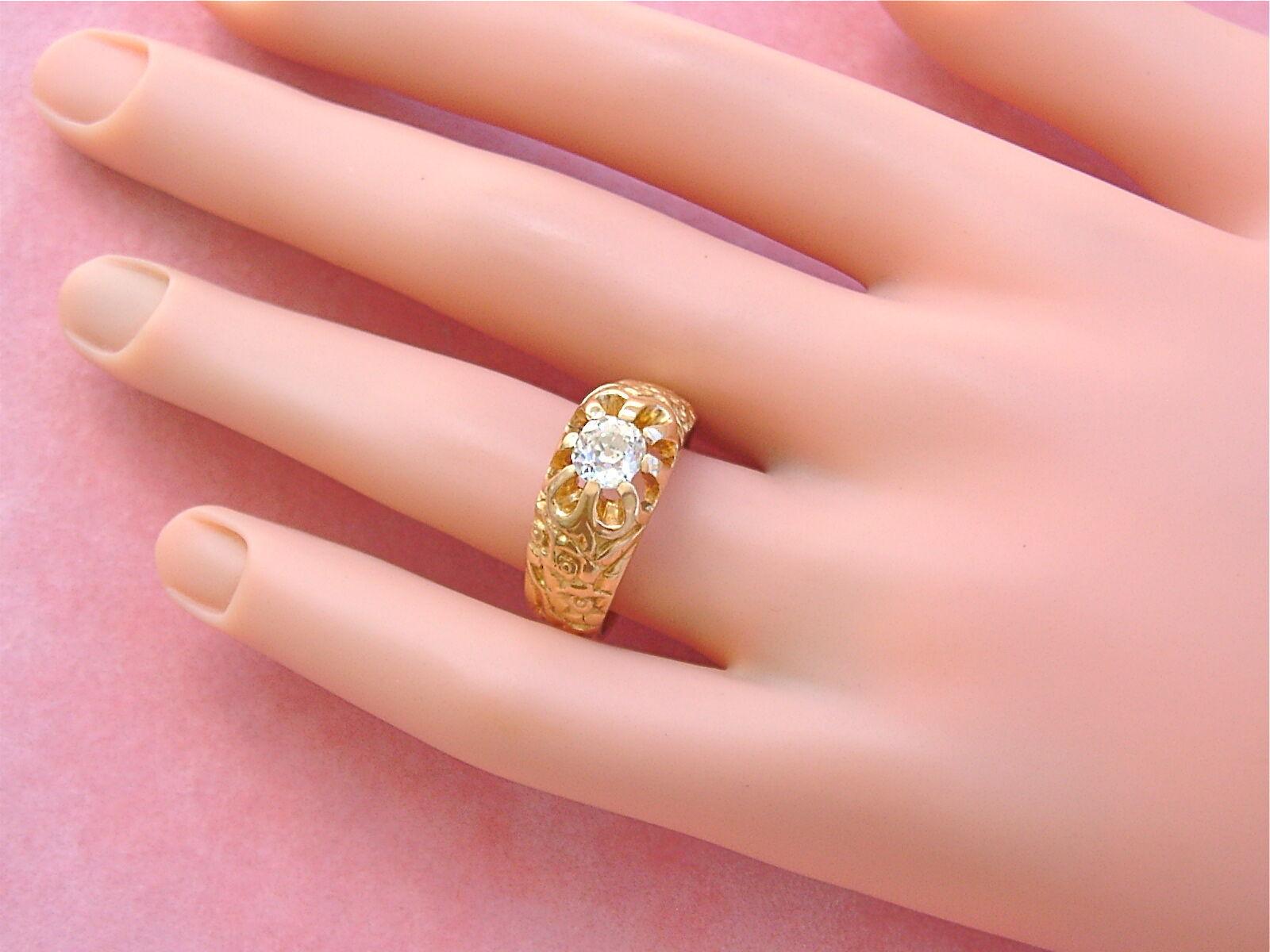 ANTIQUE ART NOUVEAU .75ct MINE DIAMOND SOLITAIRE … - image 12