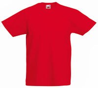 FRUIT OF THE LOOM PLAIN RED CHILDS T SHIRT ALL SIZES