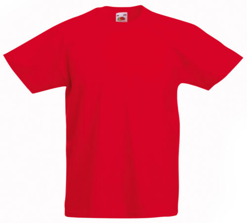 FRUIT OF THE LOOM PLAIN RED CHILDS BOYS GIRLS T SHIRT T-SHIRT ALL SIZES SS031