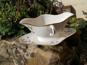 """Ancienne saucière en porcelaine de limoges décor de bleuets """" aux barbeaux """" CPaHiGNd-09164840-407772254"""