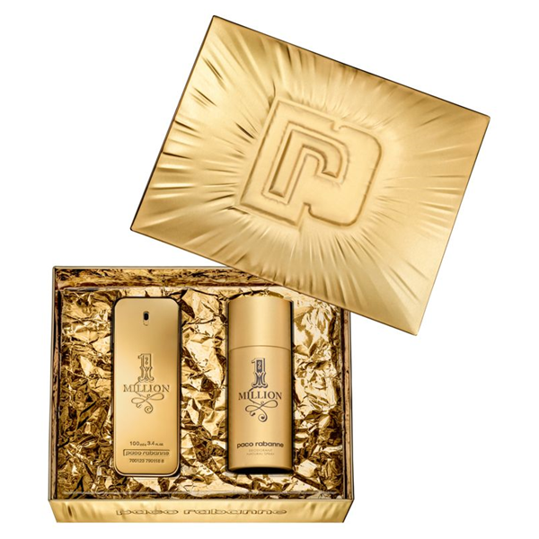 profumi: PACO RABANNE ONE MILLION eau de toilette 100+150 ml set profumo+ deo spray uomo