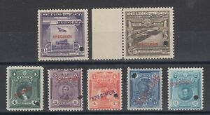 Peru-1896-1937-issues-7-different-with-SPECIMEN-overprints-MNH-group-fresh