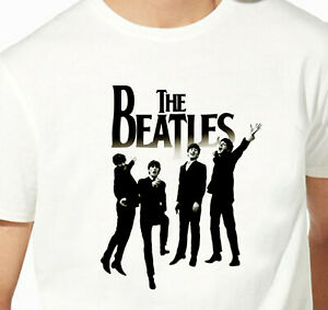 T-shirt-des-beatles-pour-homme-musique-Star-du-rock-100-coton-HQ-noir-et-blanc