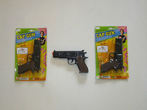 2-NEW-BLACK-TOY-CAP-GUNS-7-034-POLICE-PISTOL-SUPER-007-REVOLVER-FIRES-8-RING-CAPS