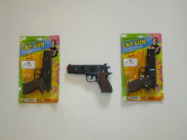 "2 NEW BLACK TOY CAP GUNS 7"" POLICE PISTOL SUPER 007 REVOLVER FIRES 8 RING CAPS"