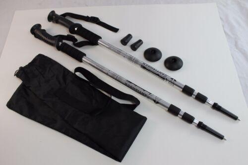 One Pair Trekking Walking Hiking Sticks Poles Alpenstock anti-shock Bag Silver
