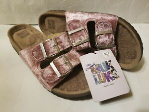 NWT-Womens-MUK-LUK-Size-9-Pink-Velvet-Two-Adjustable-Strap-Slip-On-Shoes