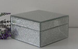 Square Mirror Silver Glitter Sparkle Stripes Glass Jewellery Trinket Storage Box Ebay