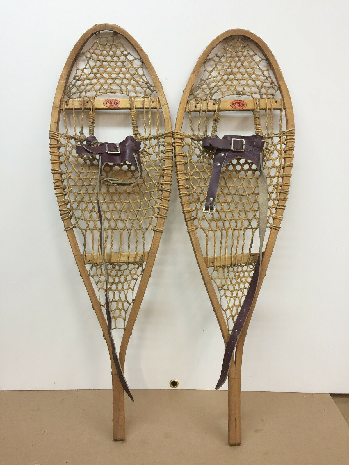 Antique  Vintage Indian Made Kid  ld FABER Snowshoes 11  X 36  Usable Or Decor  outlet