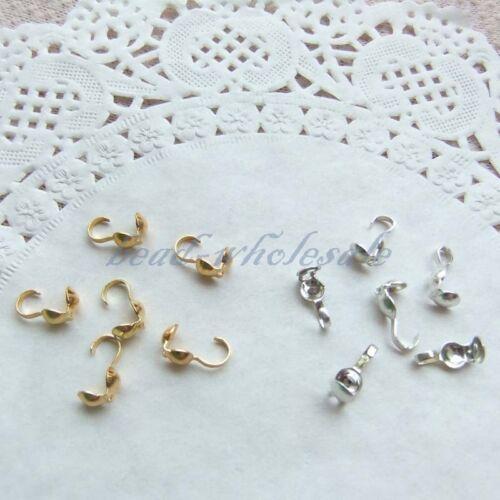 Crimp Tapones granos para joyería haciendo Por Mayor Plata Metal Chapado en Oro de 300 un