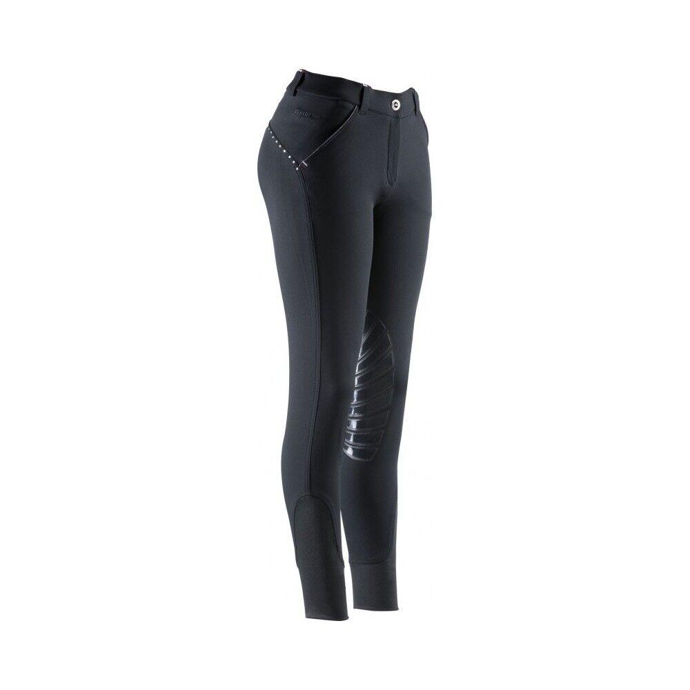 Damen Reithose Silikon-Kniebesatz Thermic Equi-Theme schwarz NEU