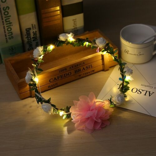 Handmade LED Floral Crown Headband Wedding Hair Garland Headpiece