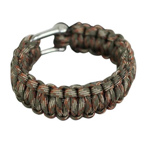 survival rope stainless steel U-shaped Manila Parachute cord Bracelet knit L4J7