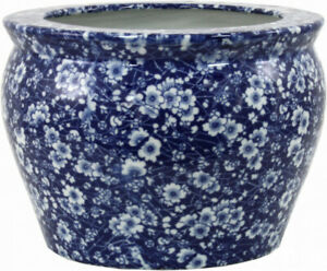 Indoor-Decor-Planter-Ceramic-Flower-Blue-Glazed-Stoneware-Round-Vintage-Style