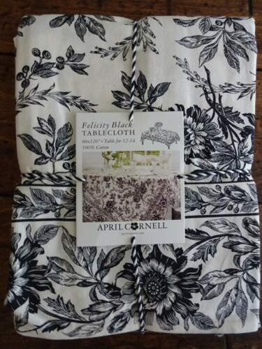 APRIL CORNELL Felicity BLACK IVORY FLORAL Farmhouse Cotton TABLECLOTH