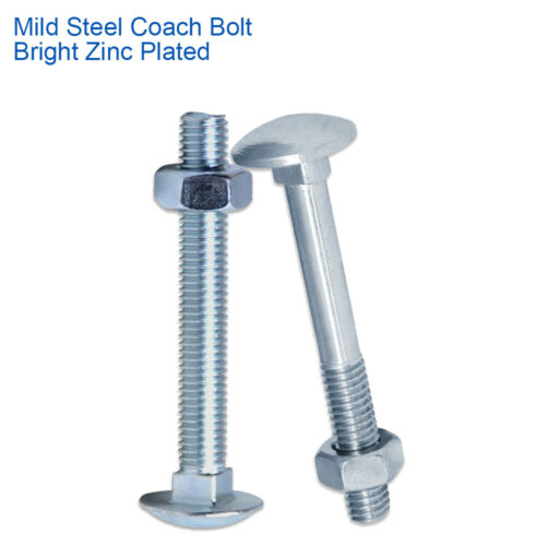 8mm COACH CUP SQUARE CARRIAGE BOLTS SCREWS WITH HEXAGON FULL NUTS BZP ZINC M8