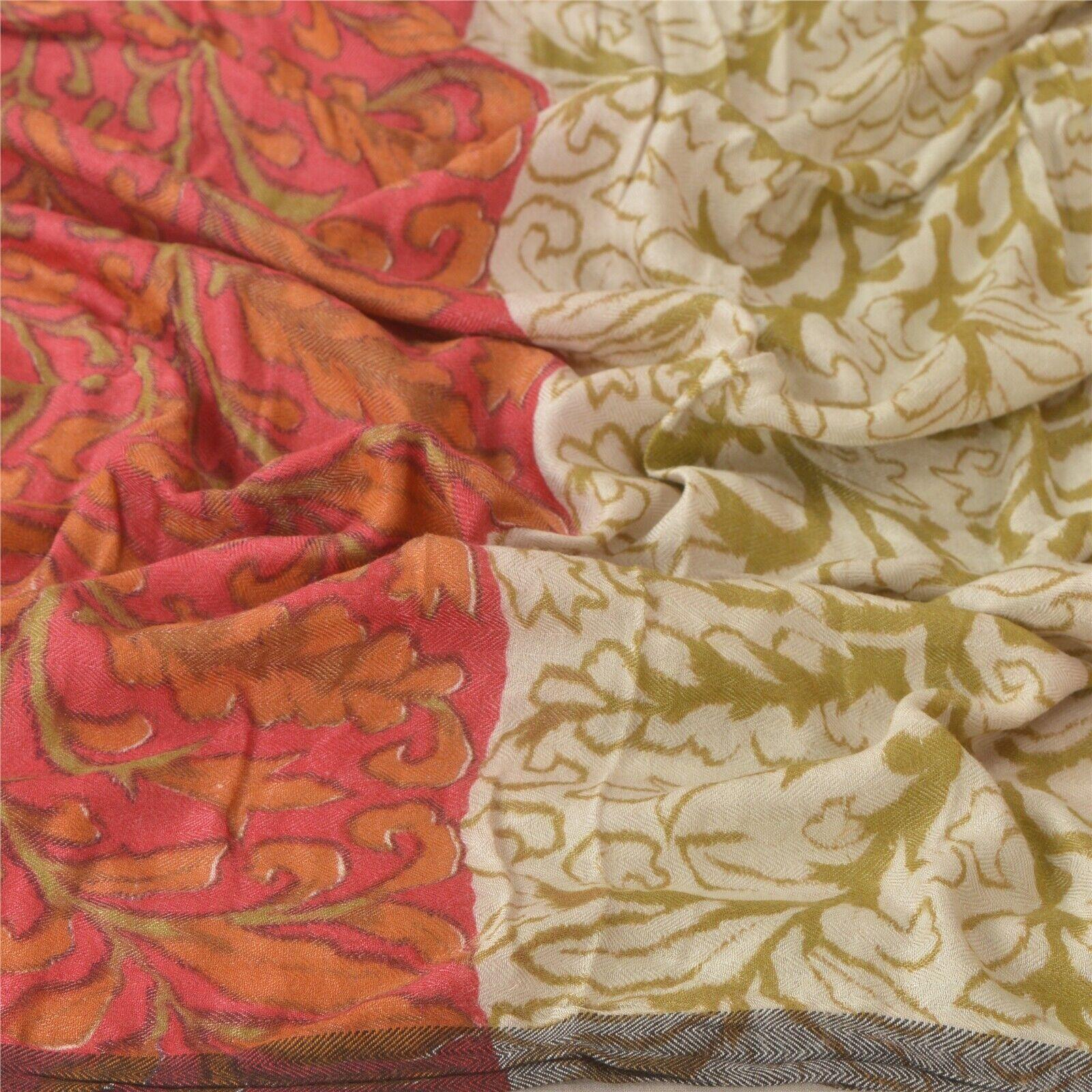 Sanskriti Vintage Dupatta Long Stole Woolen Cream Wrap Shawl Printed Scarves