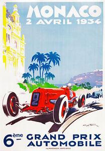 Vintage Old Transport Poster Monaco Grand Prix 1930 Print Art A4 A3 A2 A1