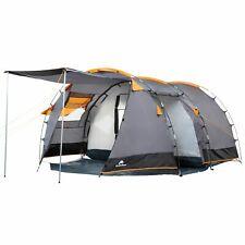 CAMPFEUER Campingzelt Tunnelzelt 4 Personen Zelt mit 3000 mm Wassersäule grau