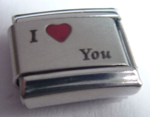 Red Heart fits 9mm Classic Starter Bracelets N140 I LOVE YOU Italian Charm