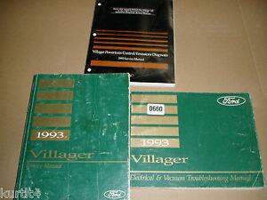 1993 Mercury Villager van minivan shop service wiring ...
