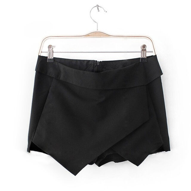 Women Asymmetric Tiered Culotte Shorts With Invisible Zipper  Mini Skirt Short O