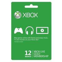 Xbox One/360 12 Month 1 Year Gold Prepaid Membership Code Card