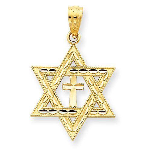 Star of David with Cross Diamond Cut Pendant - 14K gold (Retail  159)