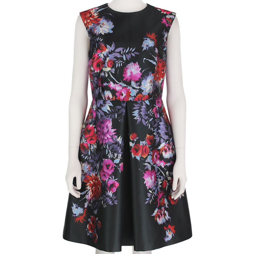 Giambattista Giambattista Giambattista Valli Slate Grey Floral Ingreened Pleat Summer Dress IT42 UK10 f23cd5