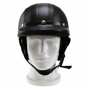 Motorcycle-Leather-Open-Face-Half-Helmet-Vintage-Fit-For-Bobber-Chopper-New