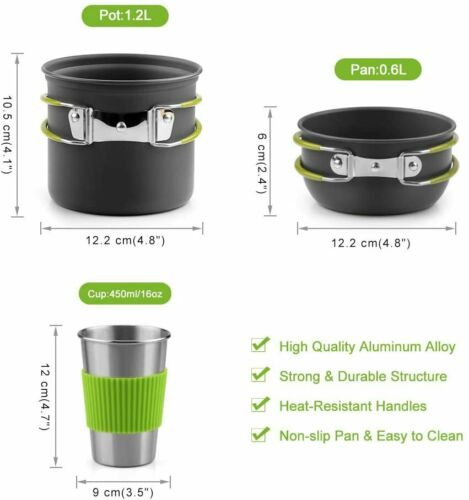 Lightweight Non-stick Camping Cookware Pot Set with Camping Stove for Traveling