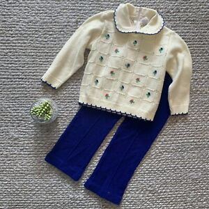 VTG-Blue-Cream-Floral-Knit-Collared-Sweater-Pants-Two-Piece-Set-60s-70s-Size-2T