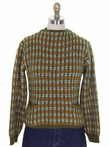 Vintage-Ladies-Sweater-Pullover-Green-Gold-amp-White-1960s-M