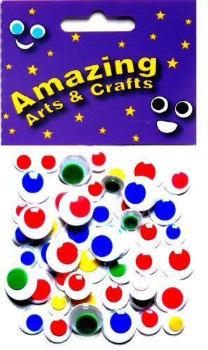 Eyes Self Adhesive Wiggle Craft Wiggly Googly Sticky coloured 50 asst sizes