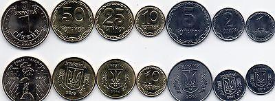 Ukraine 1 2 5 10 25 50 Kopecks 1 Hryvna 2012-2016 UNC set 7 coins Lemberg-Zp