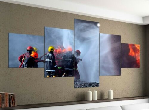 Leinwandbild 5tlg 200x100 Feuerwehr löscht Feuer Flammen Bild Leinwand 9YA148